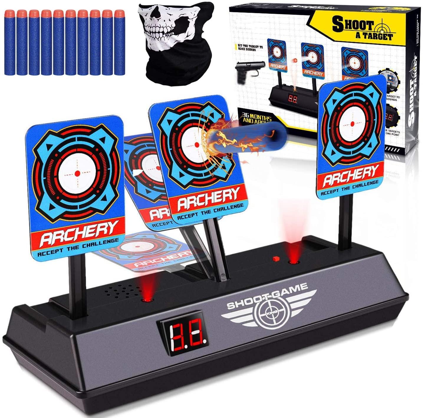 Petask Shooting Digital Target for Nerf Guns Blaster N-Strike Elite Mega Rival Kids Electric Scoring Auto Reset Targets Toys for Boys and Girls
