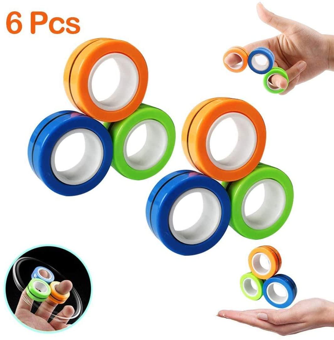 Kemladio 6 Pcs Finger Magnetic Ring, Magnet Toy, Magnetic Fingertip Toys,Colorful Unzip Finger Game Finger Toy, Decompression Tools