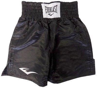 Everlast Standard Bottom of Knee Boxing Trunks - Large - All Black