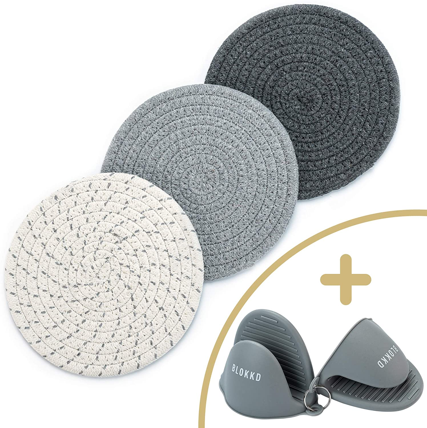 BLOKKD Trivets for Hot Pots and Pans and Silicone Pot Holder (Set of 5). Cotton Trivet Mats with Silicone Oven Mitt Set. Hot Pad Coasters for Farmhouse Decor, Spoon Rest, Hot Pads and Oven Mitts Sets
