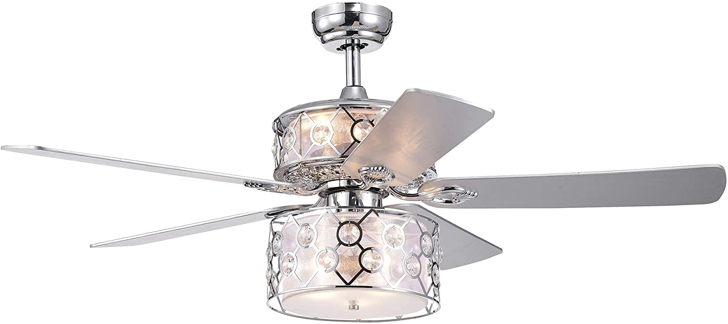 Warehouse of Tiffany CFL-8369REMO/CH Rillome Chrome 52-inch Dual Lighted Layered Fabric and Metal Drum Lamps (incl. Remote & 2 Color Option Blades) Ceiling Fan, One Size