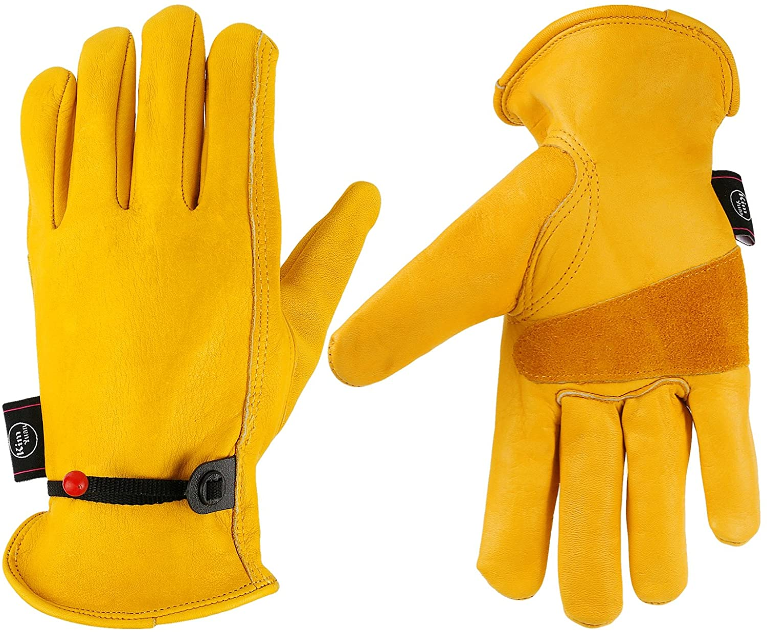 KIM YUAN Leather Work Gloves, with Adjustable Wrist, For Yard Work, Gardening, Farm, Warehouse, Construction, Motorcycle, Men & Women Large