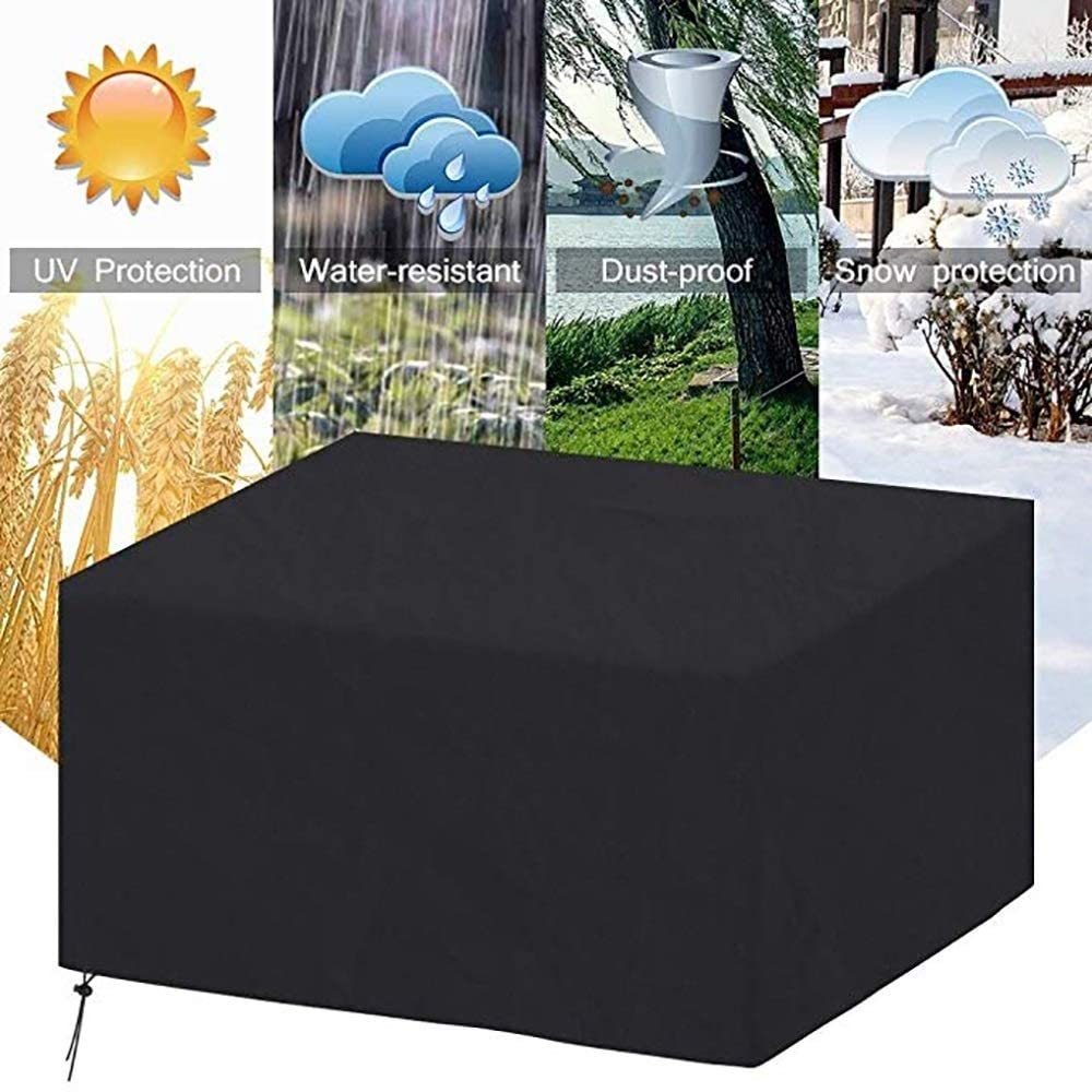 Marching orchid Garden Furniture Set, 210D Oxford Cloth Waterproof UV Protection Terrace Cover Black a Variety of Sizes for You to Choose (Size : 126x126x74CM)