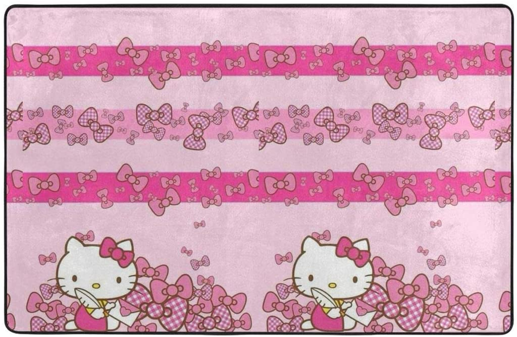 Large Soft Flannel Area Rug Anti- Skid Hello Kitty with Letter Carpet Bedroom Kids Room Mat Home Decor- 60 X 39 in