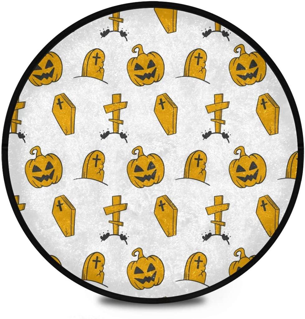 Halloween Shaggy Round Mat Scary Pumpkin Happy Halloween Circular Carpet for Kids Living Room Anti-Slip Rug Room Carpets Play Mat