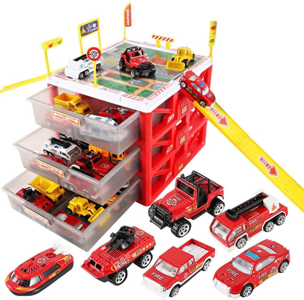 STOBOK Parking Lot Car Garage Playset Vehicle Storage Box Play Construction Truck Toys Set Educational Gift for Kids