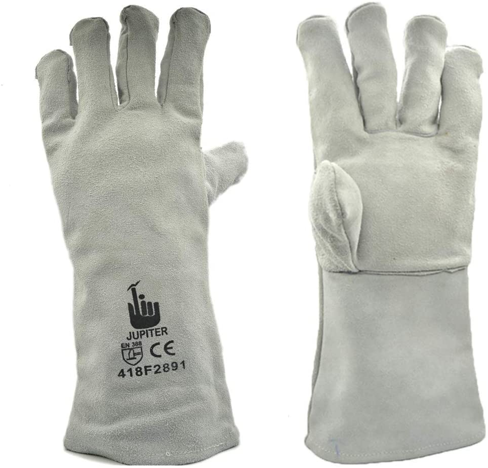 Jupiter Rose Gardening Puncture Resistant Leather Gloves for Pruning Blackberries/Thorny Bushes/Roses/Wild Plants with Split Cowhide Palm and Fingertips - White - Pack of 1 Pair (Large)
