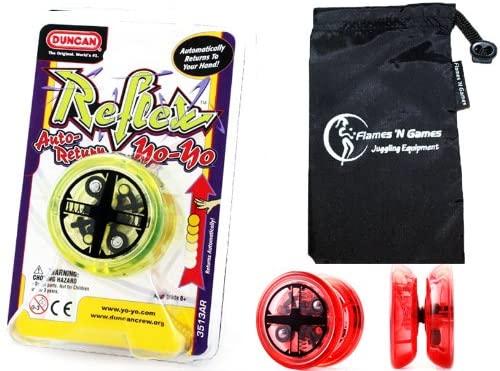 Duncan Reflex (Auto-Return) YoYo (Yellow) Professional YoYo with Travel Bag! Pro YoYos For Kids and Adults