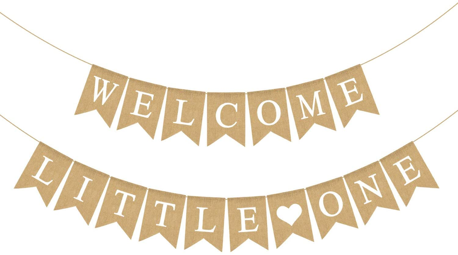 Rainlemon Jute Burlap Welcome Little One Banner Rustic Baby Shower Gender Reveal Party Decoration Supply