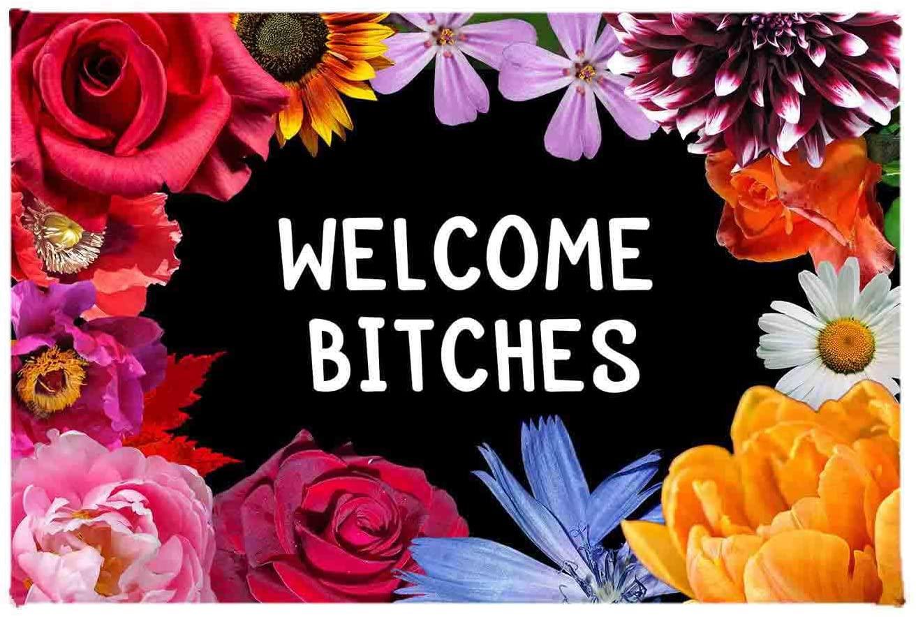 ZMvise Welcome Bitches Floral Flowers Non-Slip Area Rug Floor Front Door Mats Entry Carpet Indoor Doormat Outdoor Felt