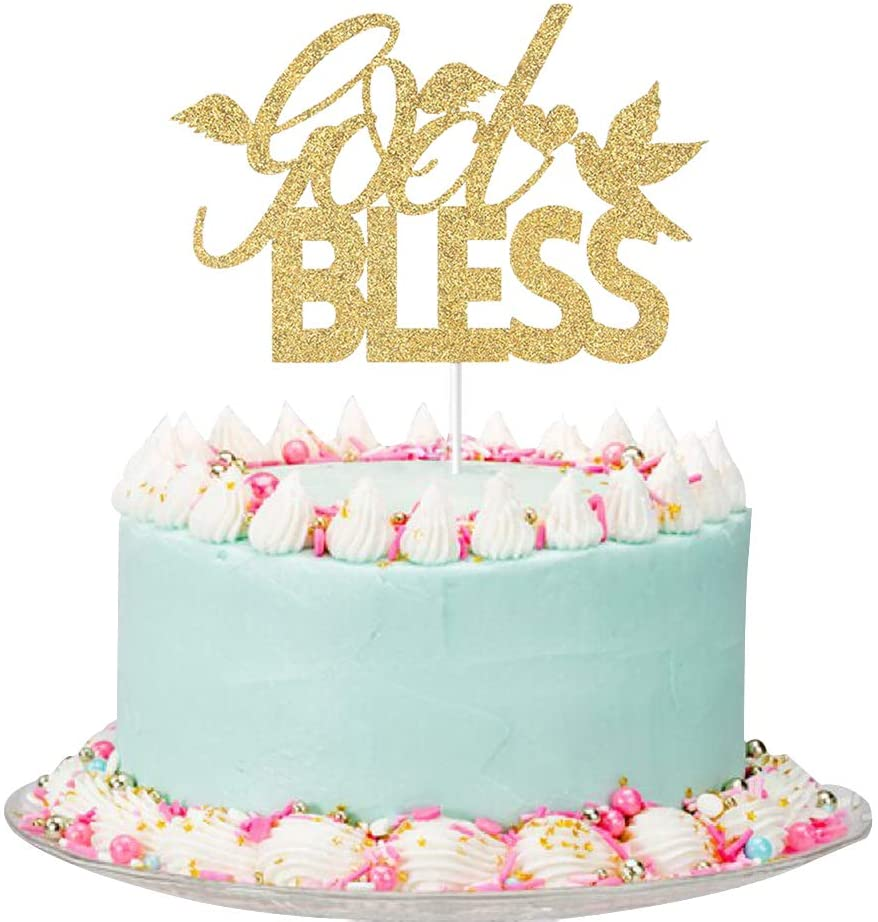 Gold Glitter God Bless Cake Topper - for Baby Shower/First Communion/Baby's Baptism Party Decorations