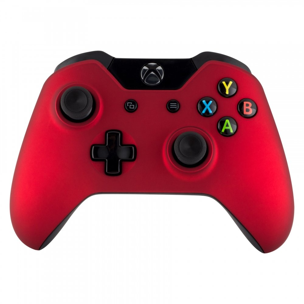 eXtremeRate Custom Design Unique Top Shell Case Front Housing Replacement Faceplate Kits for Xbox One Remote Controller Cover (Soft Touch Red)