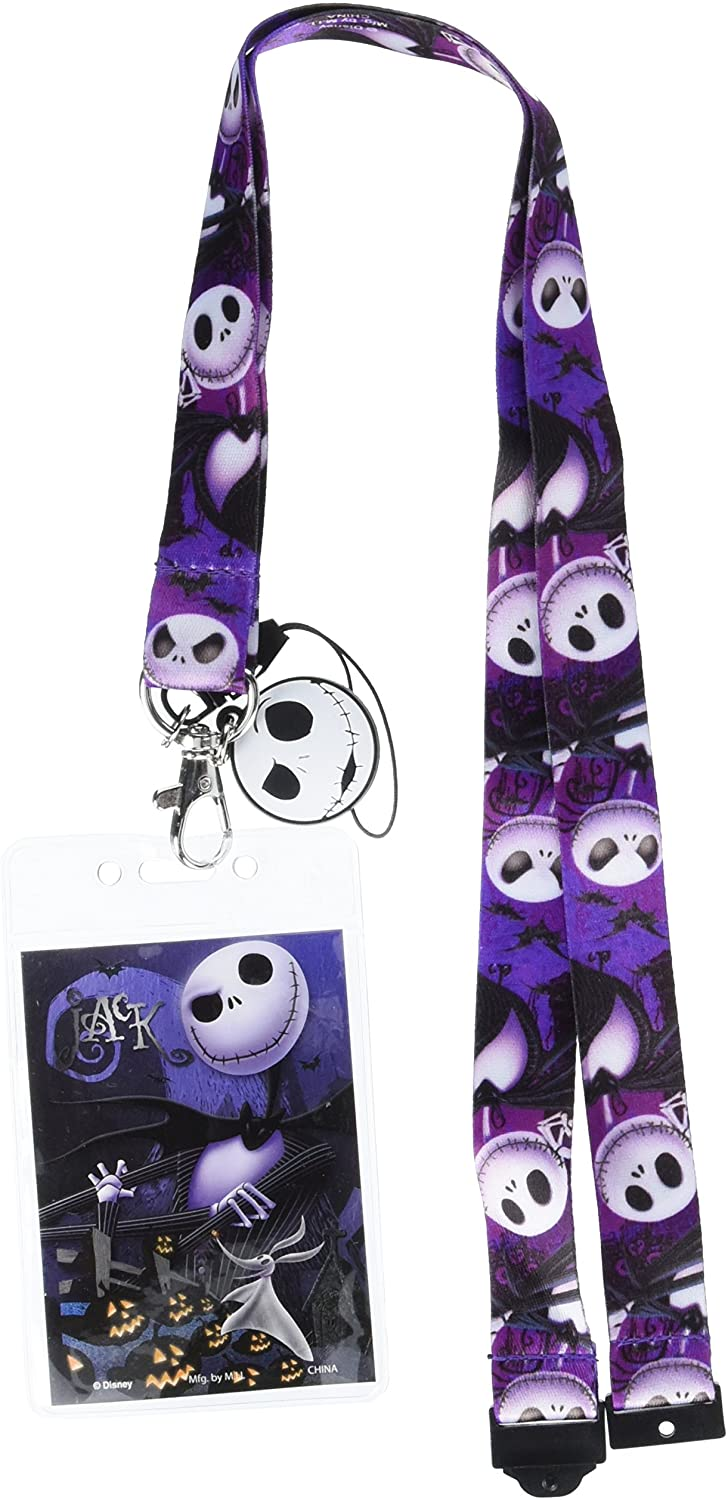 Disney Tim Burtons The Nightmare Before Christmas Jack Lanyard with Soft Dangle & Card Holder,Multi-colored,3