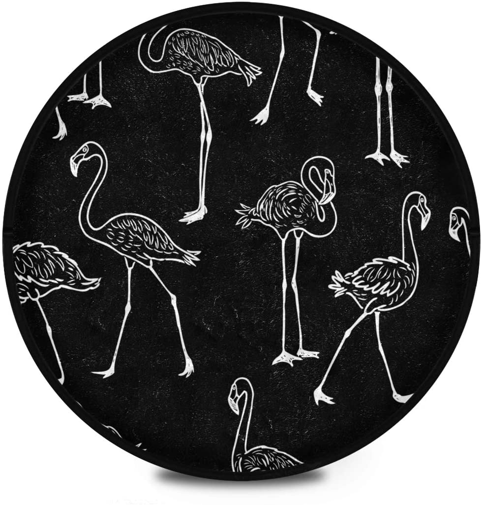 Shaggy Round Mat Flamingo Round Rug for Kids Playroom Anti-Slip Carpets Play Mat