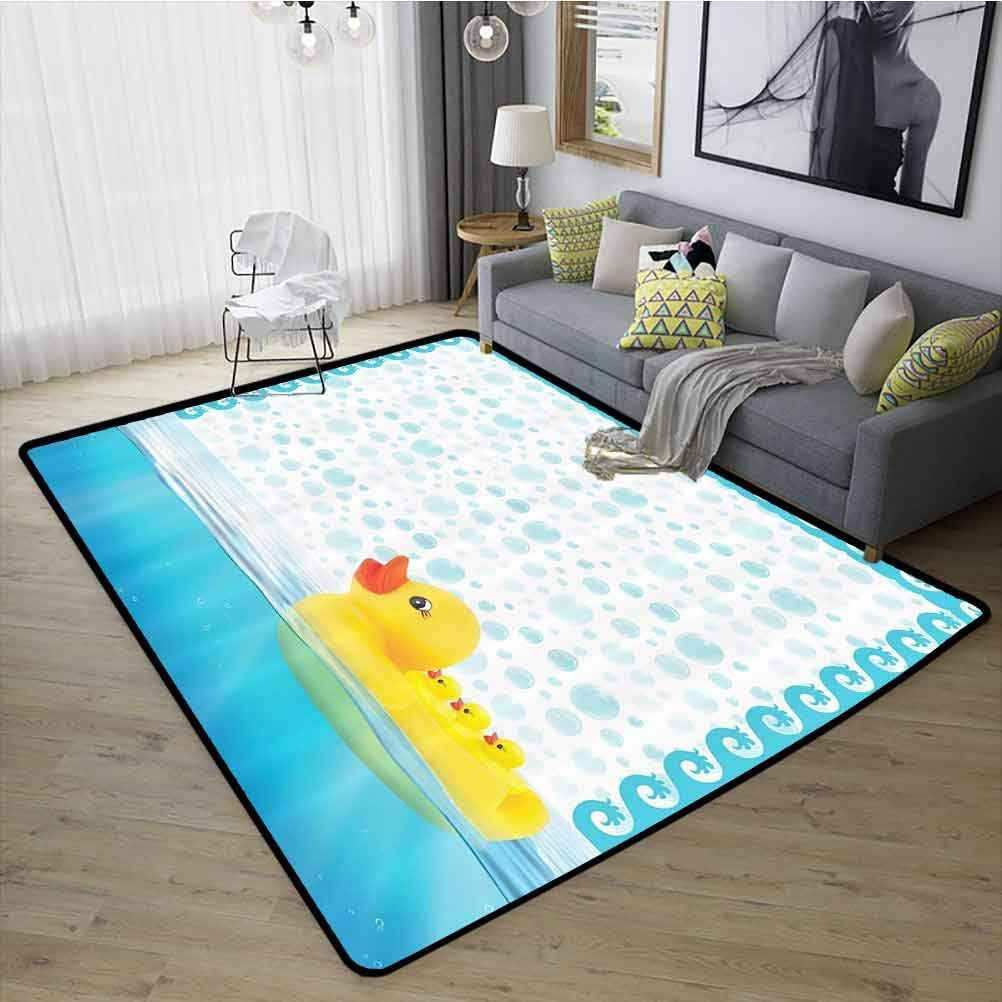 Nursery Decor Cute Kitchen Carpet, Strong and Durable Rubber Durable Non Slip for Living Room Kids Room, W19 x L31 Yellow Aqua White