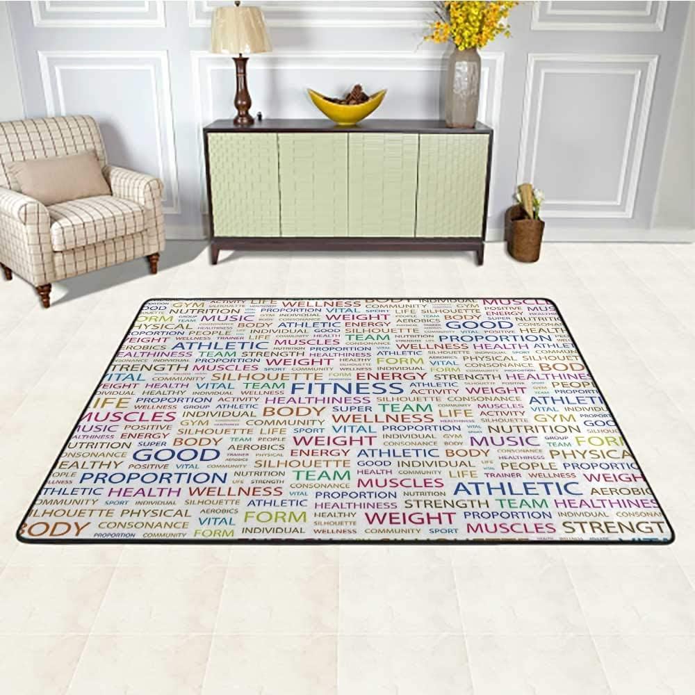 Fitness Kids Area Rugs 4' x 6', Gymnastics Psyhical Activity Lifestyle Concept Words Salubrity Wellness Health Kids Carpet, Multicolor