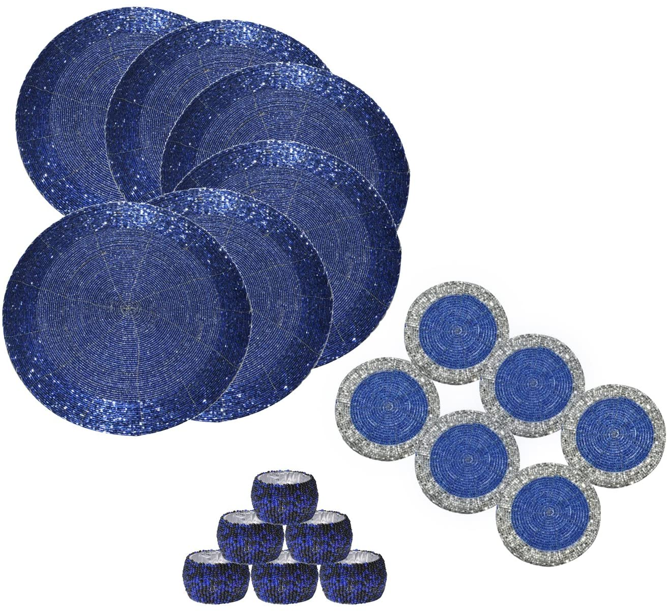 DakshCraft 6 Beaded Round Ethnic Placemat/Tablemat(Dia - 12