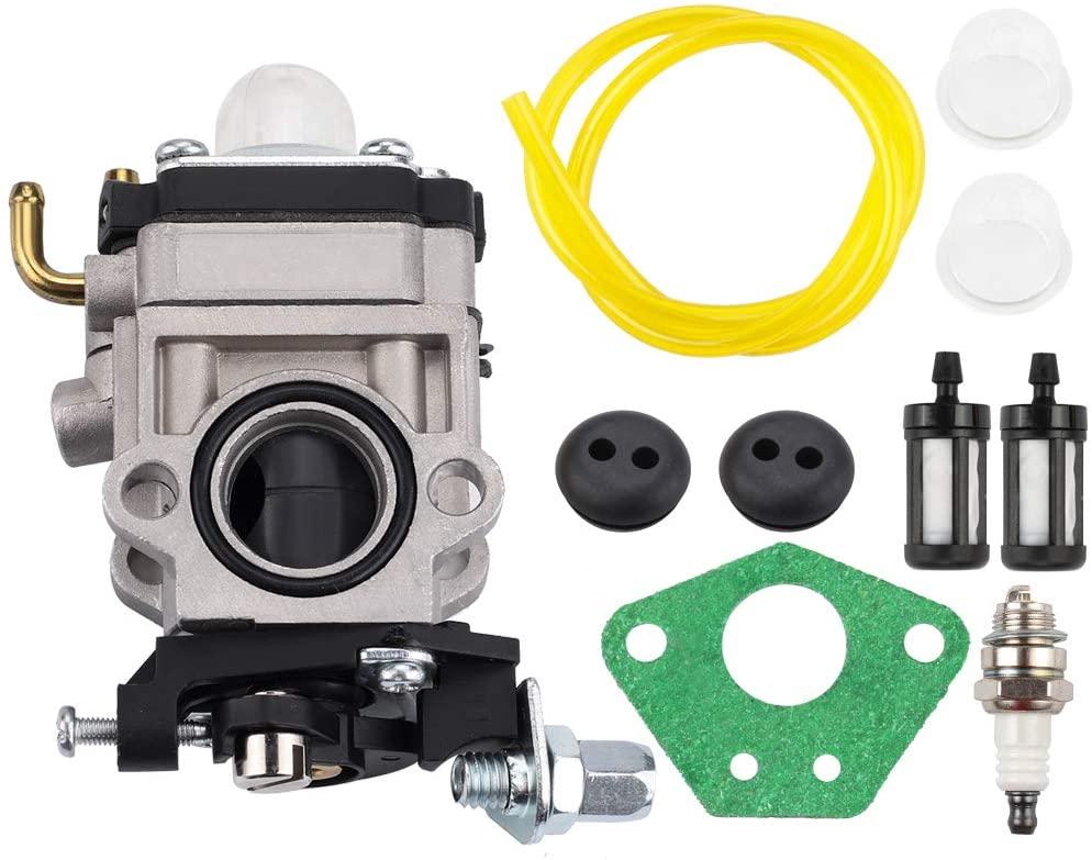 Kizut 300486 Carburetor with Primer Bulb Fuel Filter Tune Up Kit for Earthquake E43 E43CE E43WC Auger MC43 MC43E MC43CE MC43ECE MC43RCE Tiller MD43 WE43 WE43E WE43CE Edger