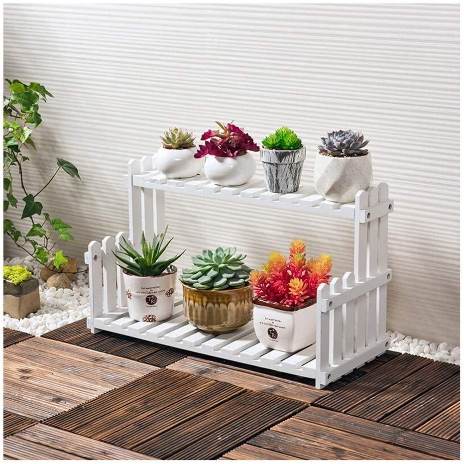 QNN Plant Stands,Solid Wood Flower Stand Living Room Balcony Floor Multi-Layer Pot Rack Indoor Simple Succulent Plant Shelf Rack Storage Rack Decorative Flower Pots,502122Cm