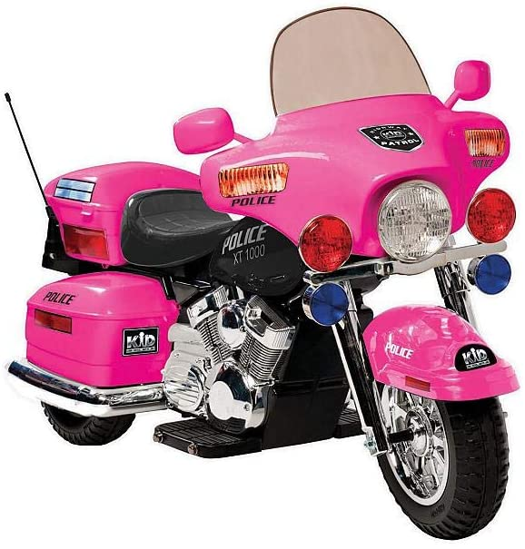 Evaxo 12V Police Motorcycle in Pink
