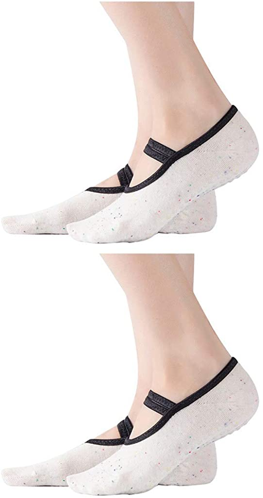 Non Slip Skid Sticky Socks, 2 Pairs Yoga Socks for Women with Grips for Sports Pilates Pure Barre Ballet Dance Barefoot Workout