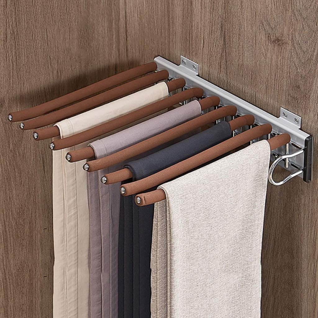 DGDG Wardrobe Pull Out Storage Rack for 9 Pants Jeans Scarf Storage Hanger Rail,Suitable for Wardrobe-Depth 47cm,Brown Flocking Rod (Color : Right)