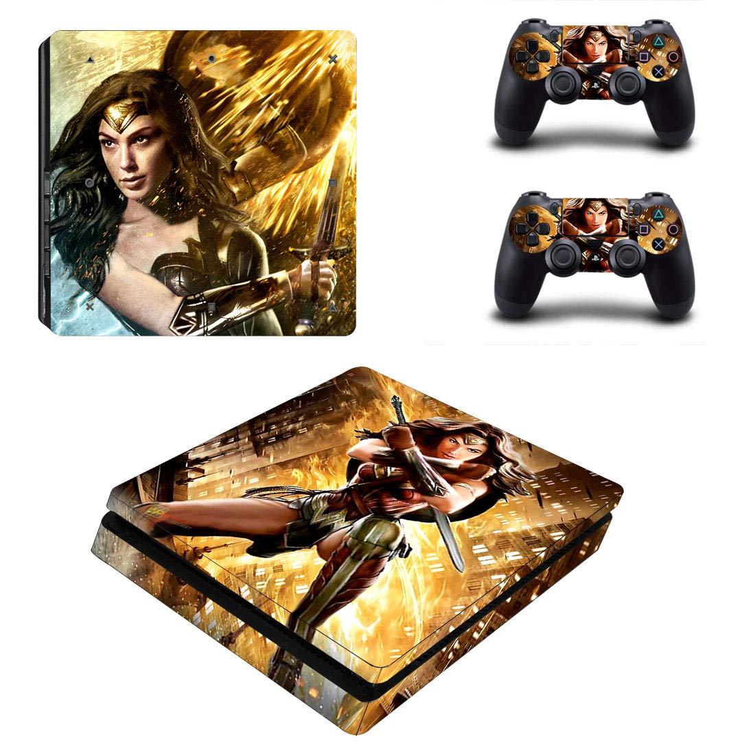 Adventure Games - PS4 SLIM - Wonder Woman - Playstation 4 Vinyl Console Skin Decal Sticker + 2 Controller Skins Set