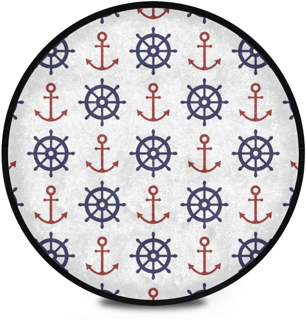Shaggy Round Mat Nautical Small Round Rug for Kids Playroom Anti-Slip Rug Room Carpets Play Mat