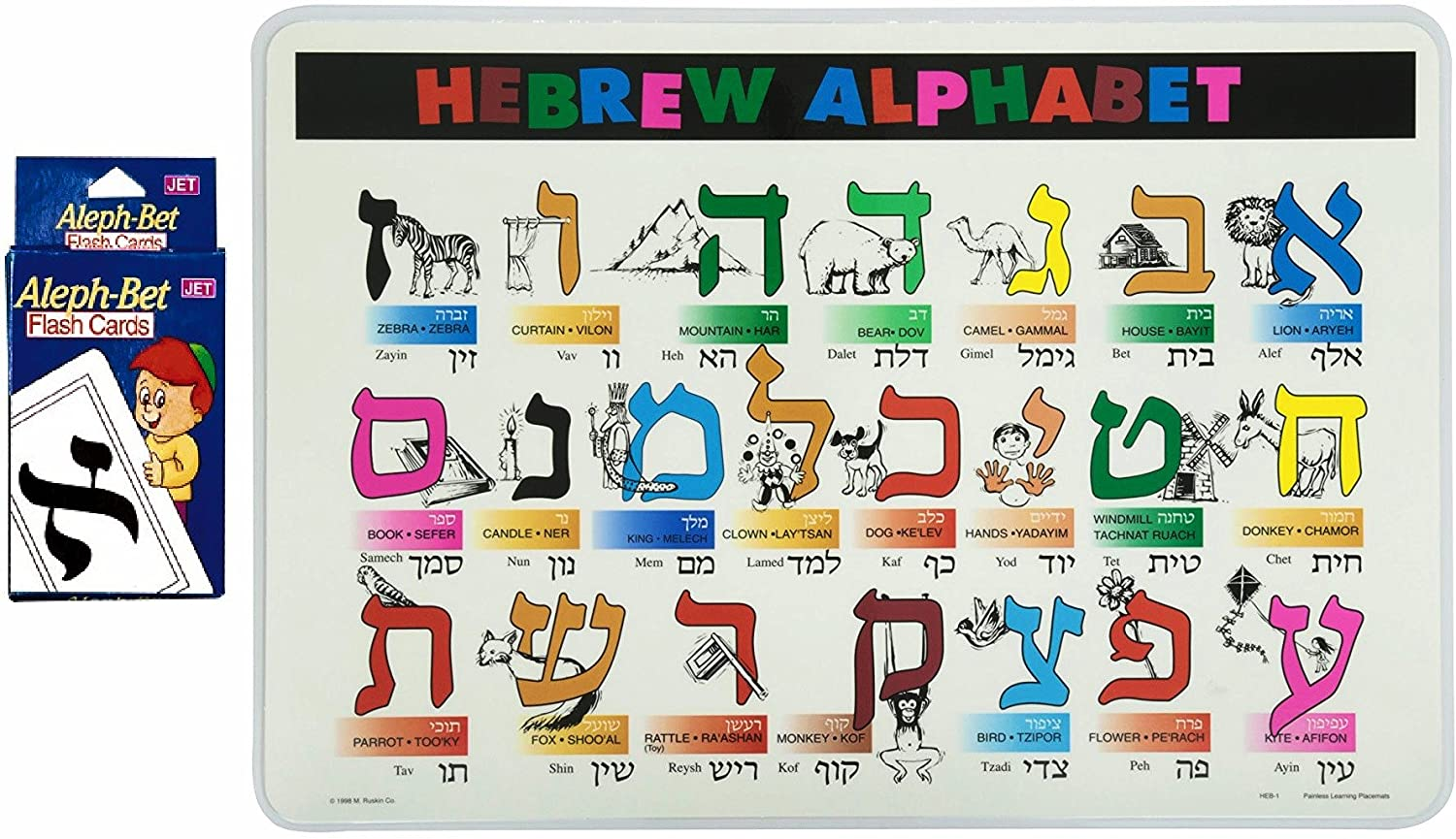 Assorted Brands Aleph Bet Flash Cards and Hebrew Alphabet Placemat for Kids