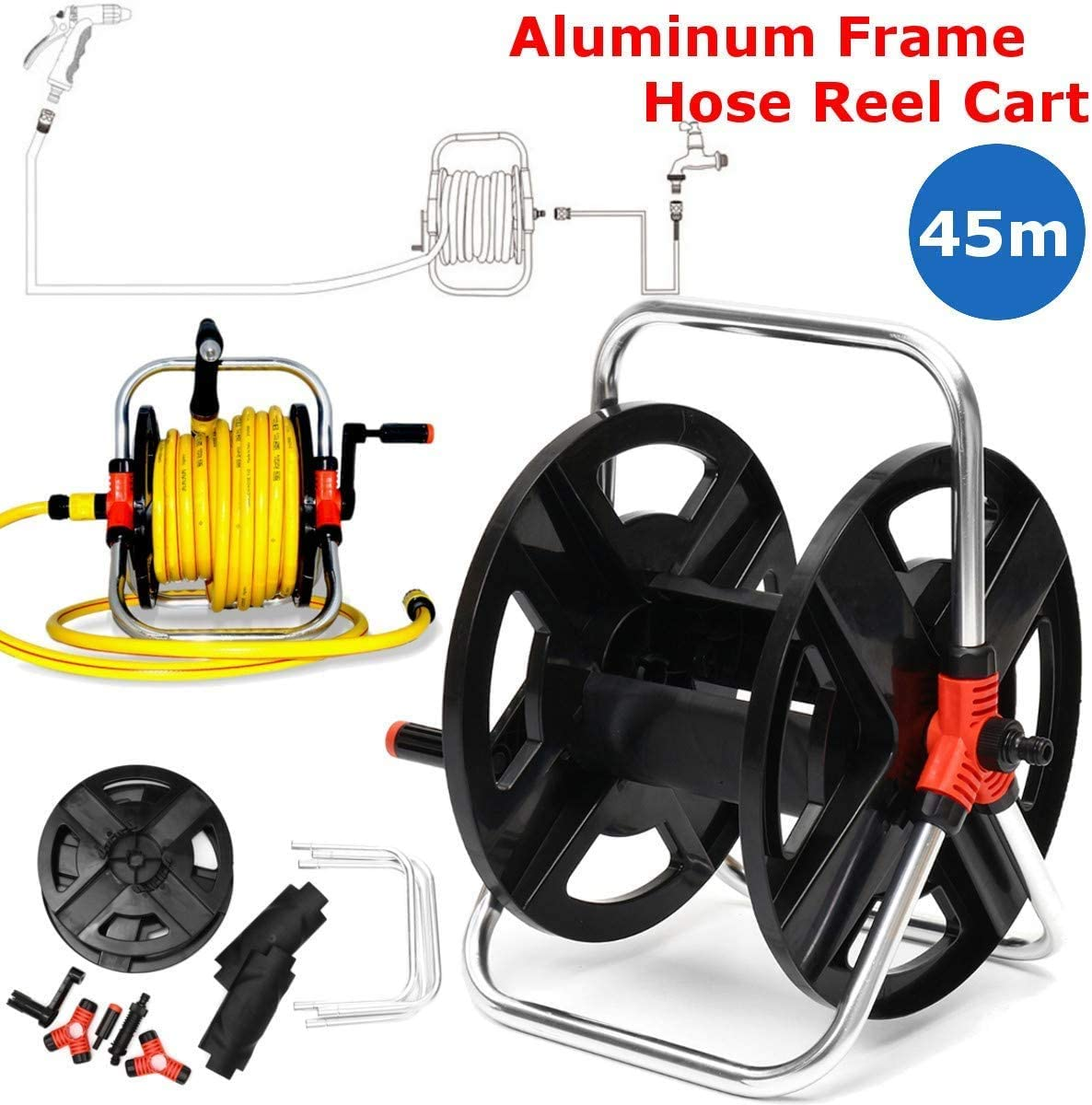 Portable Hose Cart Water Pipe Storage Rack Hose Reels Garden Watering Tool Accessories,Holds 45M of 1/2 Inch Hose