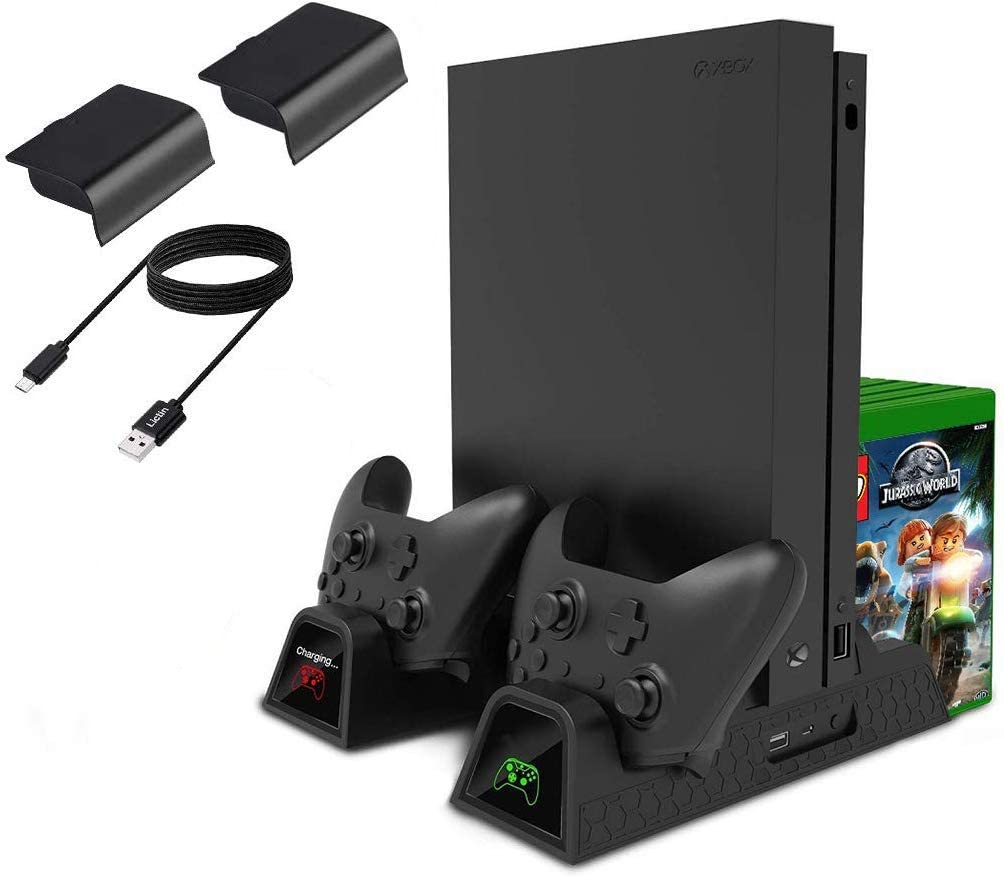 Cooling Stand for Xbox One/One S/One X, CTPOWER Vertical Charging Station with 2 Pack 600mAh Batteries, Games Storage, Dual Controller Charging Station