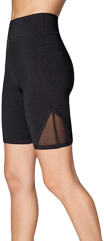 SNOWSONG Women's High Waist Yoga Shorts Running Workout Active Shorts Mesh Legging with Pockets