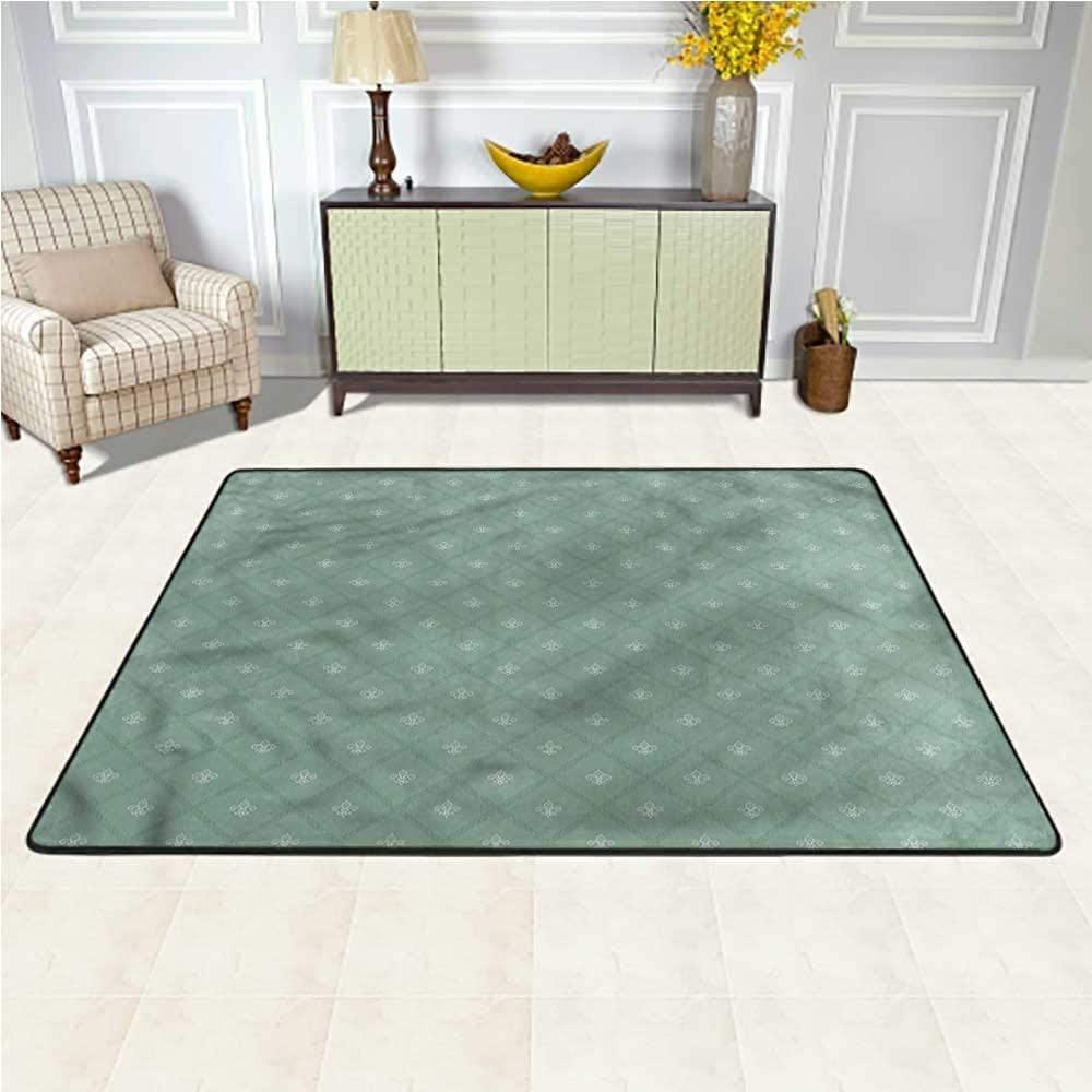 Carpet Fleur De Lis, Retro Royal Lilies Kids Dorm Floor Mat for Girls Room Bedroom 7 x 7 Feet