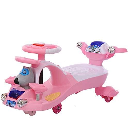 Moolo Kids Twist Car, Children Toy Swing Car 1-3-7 Boy/Girl Sliding Games Fitness Yo Gyro Wiggle Scooter Mute Flash Rollover Prevention