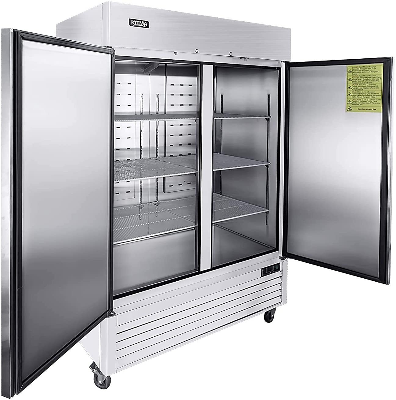 2 Door Commercial Refrigerator, Stainless Steel Upright Refrigerator with 6 Adjustable Shelves, 49 Cu. Ft. Reach-in Reversible Door Fridge for Restaurant Cafe Bar (33℉- 38℉)