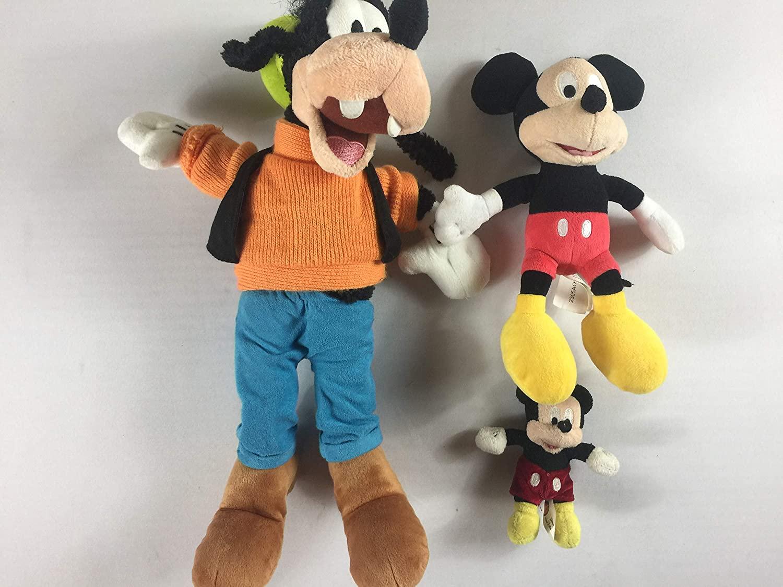 Disney Plush Lot of 3 Mickey Mouse Goofy Cute Cuddly Land World Parks Kids Toys