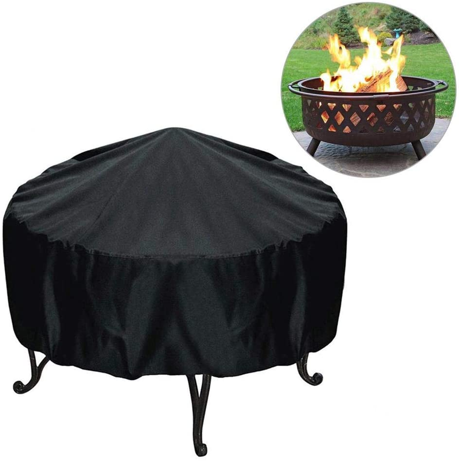 N/Z Round Patio Fire Pit Cover,210T Polyester Heavy Duty Fire Pit Cover,Waterproof Windproof Anti-UV Heavy Duty Gas Firepit Furniture Table Covers