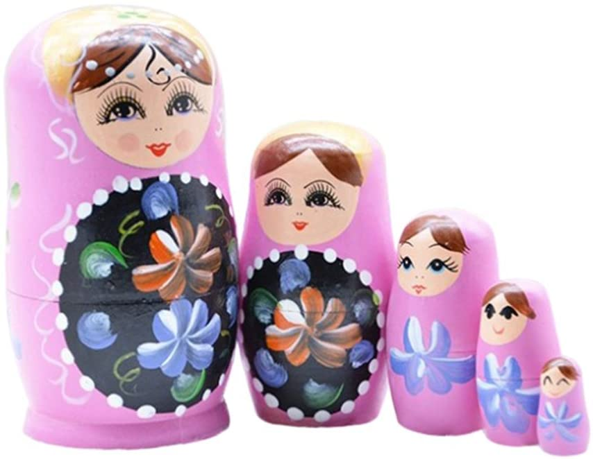 Aimeely Lovely Traditional Wooden Nesting Stacking Dolls Russian Matryoshka Toys A Set of 5 Pieces
