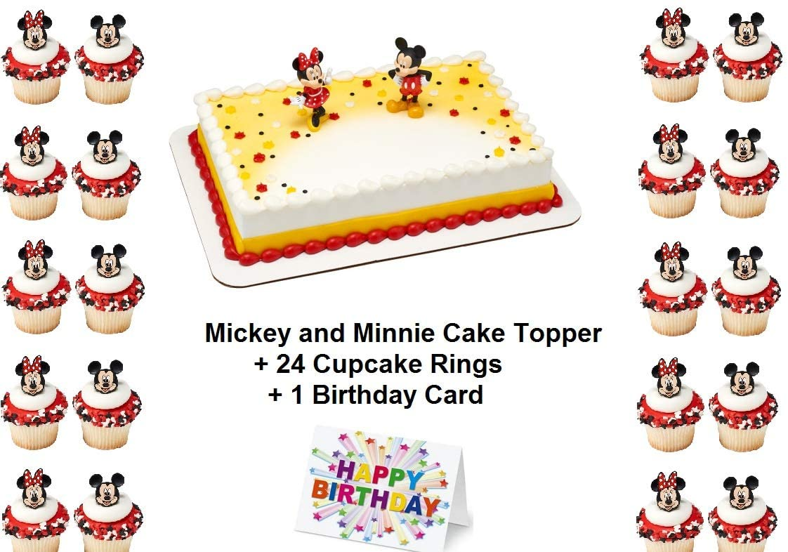 Mickey Minnie Cake Topper Set Cupcake Friends Love 24 Pieces plus Birthday Card