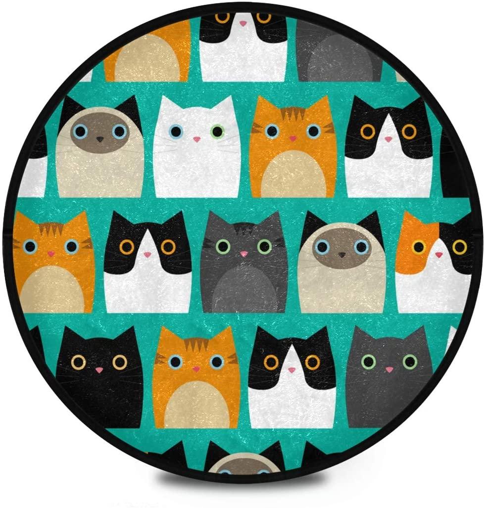 Shaggy Round Mat Cute Cats Circular Carpet for Kids Playroom Anti-Slip Rug Room Carpets Play Mat