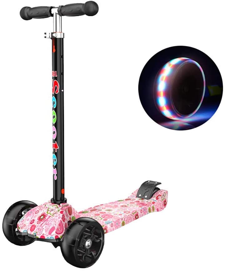 QX Scooter Outdoor Sports Scooter Kick,Kids Kick with Adjustable Handle Grip, Toddler, Age for 2-16Yr Boy/Girl, 50Kg Load, 4 Pu Flash Wheels Rear Brake Adult Child Toy Balance Car Mini,Pink