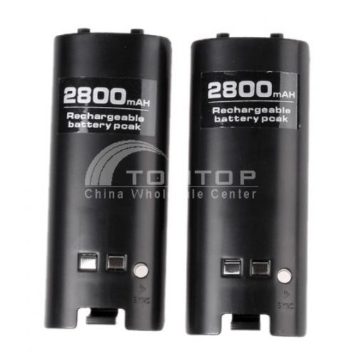Hot! Black Remote Controller Charger+2x 2800mAH Battery Packs For Wii by AHMET