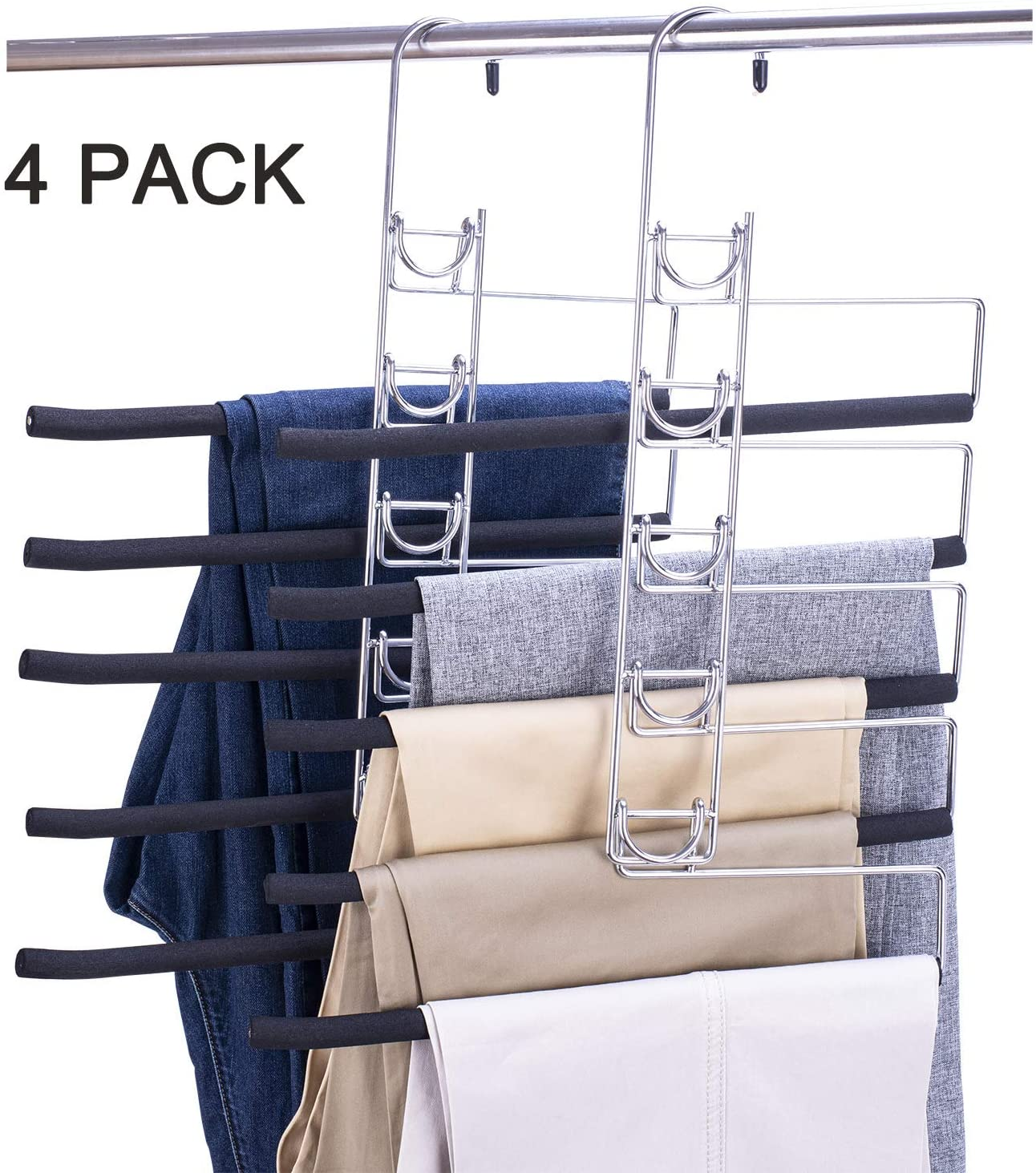 Nature Smile 4Pack - 5 in 1 Heavy Duty Metal Pants Slack Hangers,Detachable Multi Layers Blanket Rack, Space Saver Closet Storage Organizer for Garden Flags TableclothTrousers Jeans Scarf