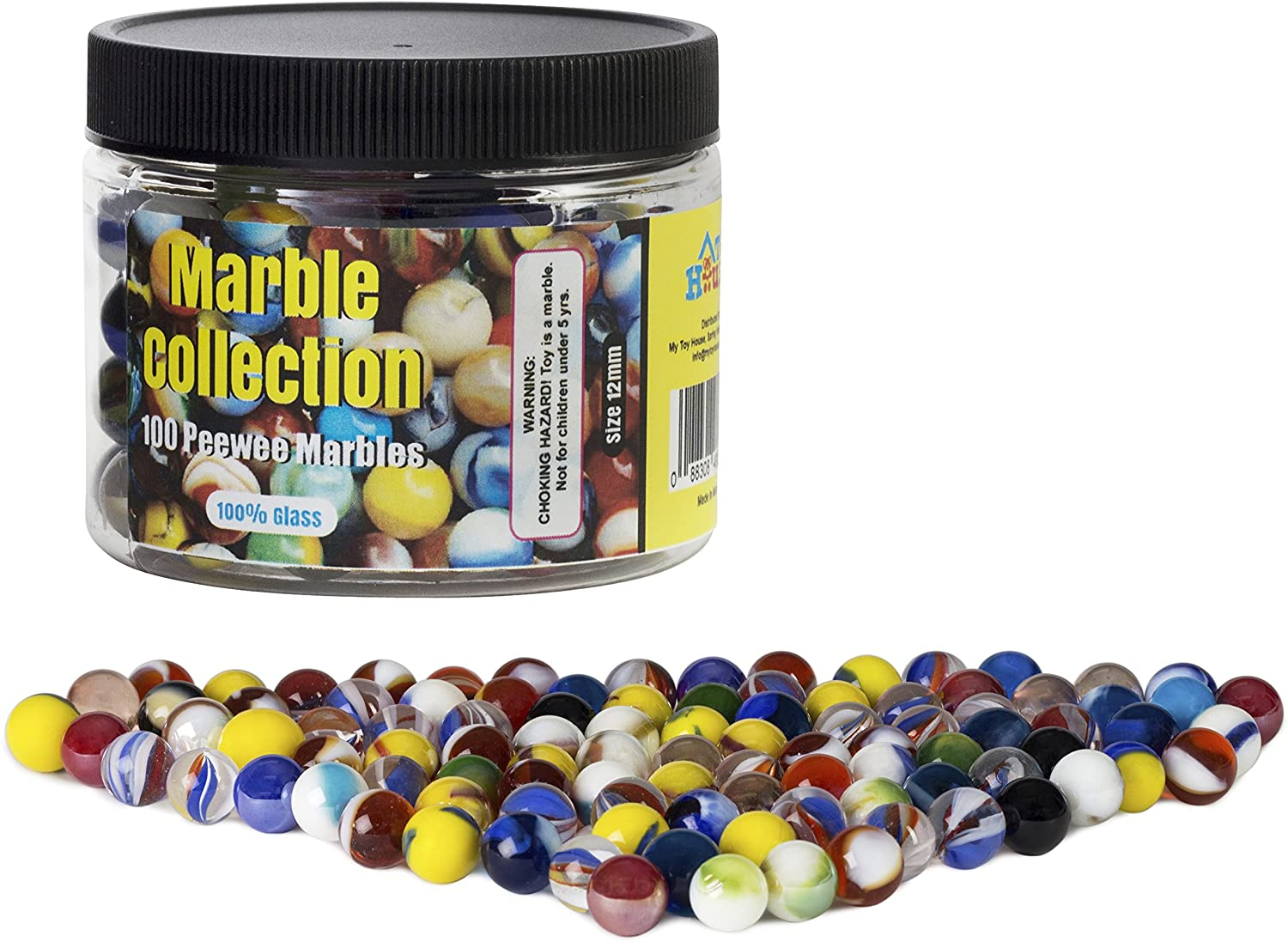 Set of 100 Small Peewee Glass Marbles, Assorted Colors, For Small Marble Run Game, with Marble Jar For Storage
