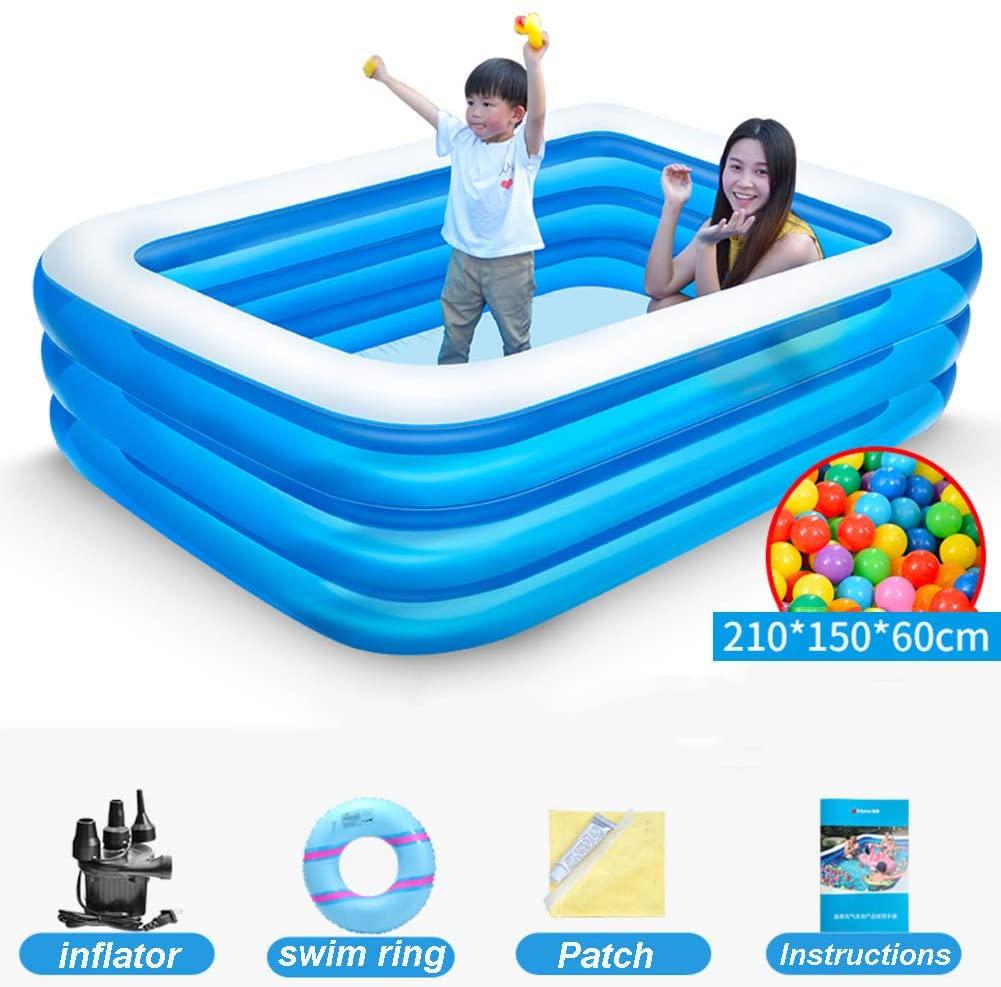 TriGold Inflatable Swim Pool Household,Easy to Set Swim Pool for Backyard Garden,Thicken Family Swim Center for Kids Adults Blue 2.1m