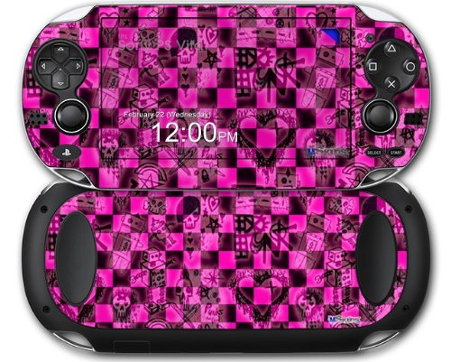 Pink Checkerboard Sketches - Decal Style Skin fits Sony PS Vita