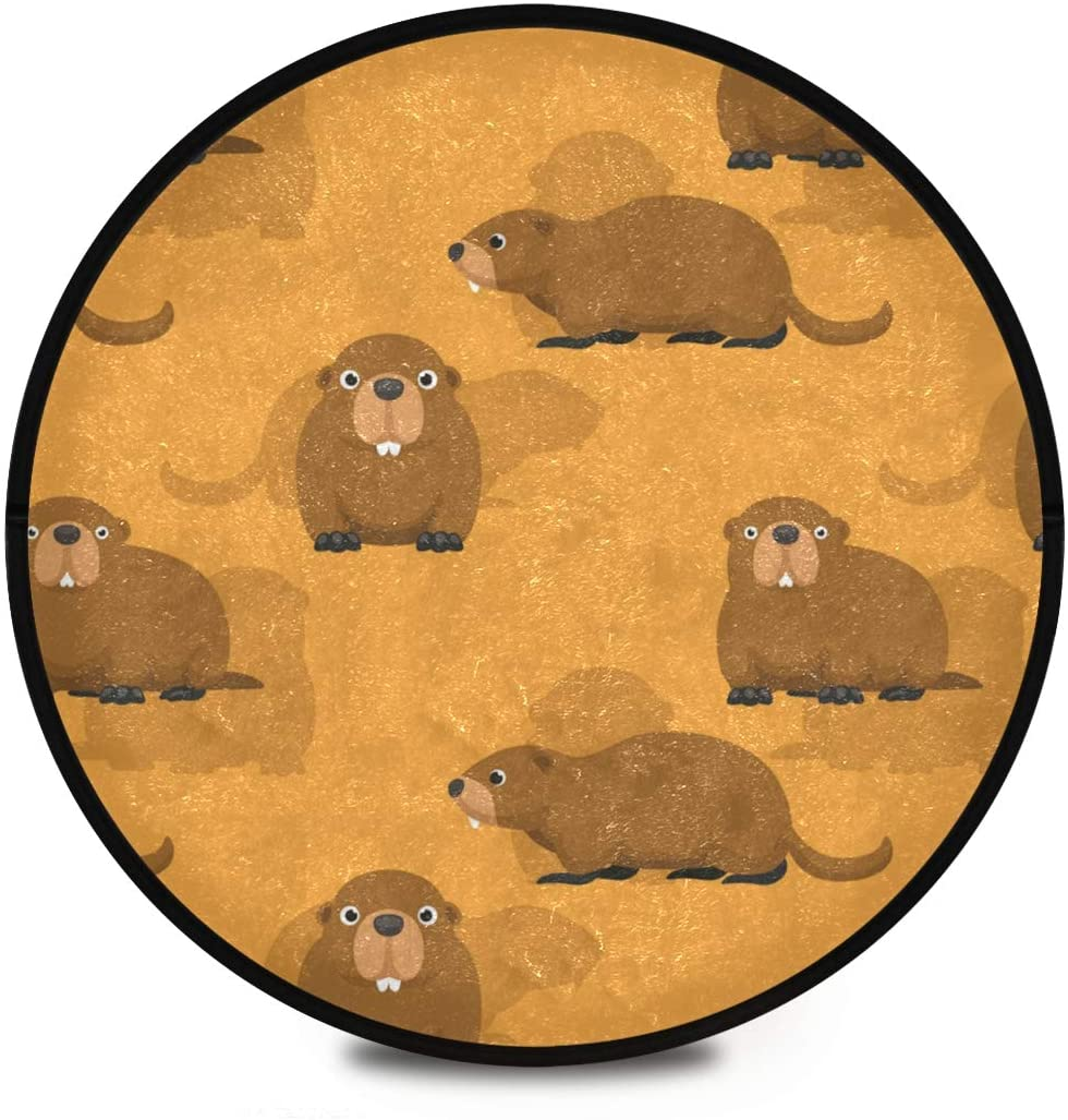 Shaggy Round Mat Cute Cartoon Groundhog Standing Happy Day Small Round Rug for Kids Bedroom Anti-Slip Rug Room Carpets Play Mat