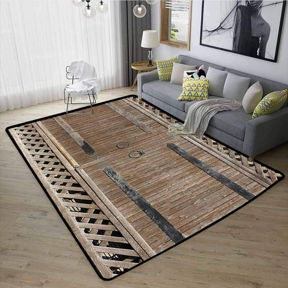 Rustic Decor Collection Bedroom Rugs, Super Soft Indoor Modern Rubber Non Slip for Living Room Kids Room, W15 x L23