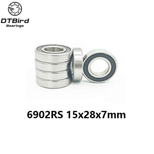 Ochoos 10PCS 6902-2RS 15x28x7MM Metric Thin Section Bearings 61902RS 6902 RS Bike hub Part - (Length: ABEC5)