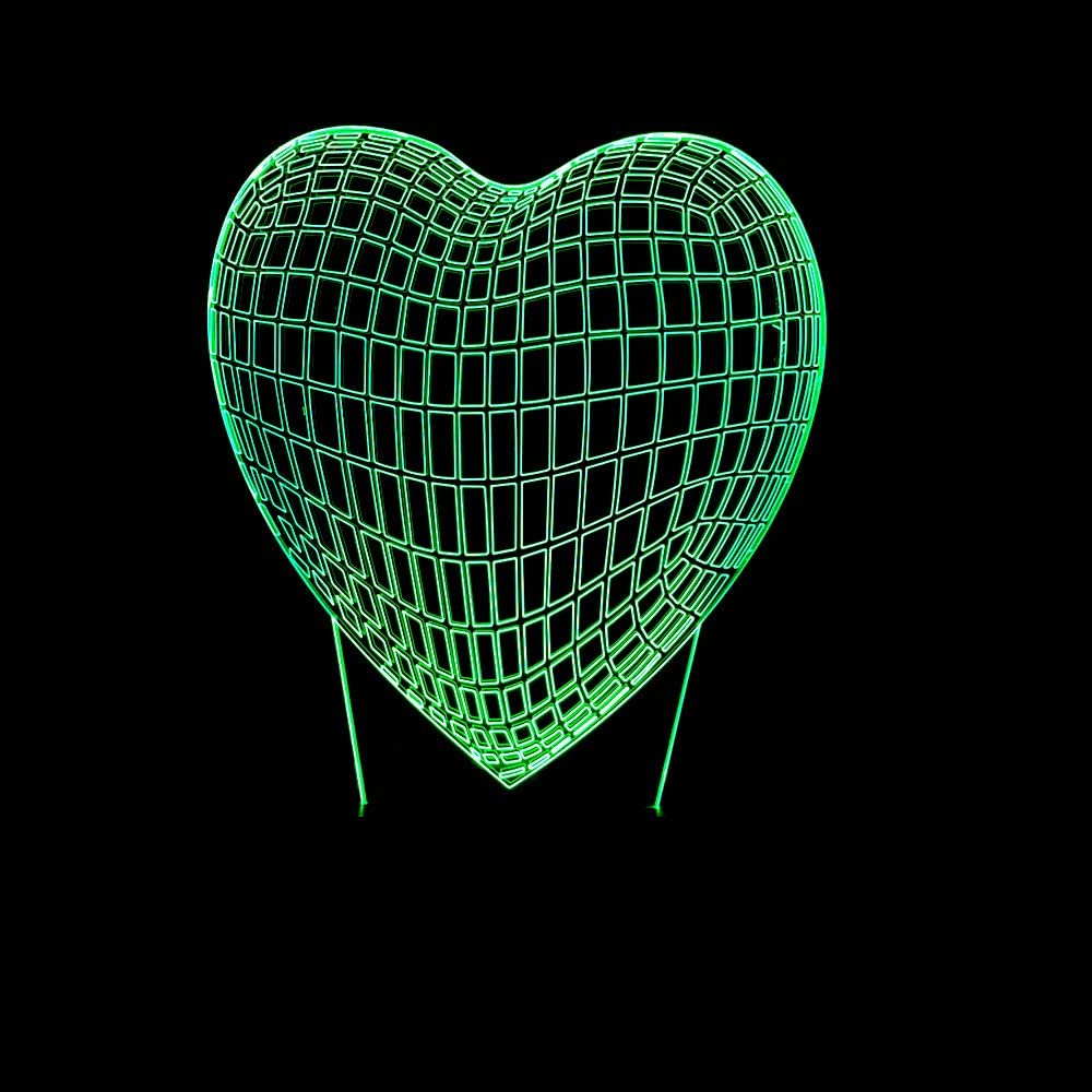 Led8N 3D LED Optical Illusion Lamps Night Light,7 Colour Changing LED Bedside Lamps for Kids with Acrylic Flat,ABS Plastic Base,USB Charger Heart-Shaped